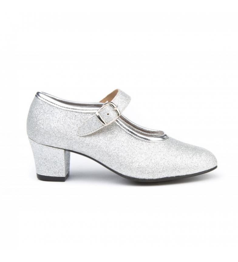 Comprar Angelitos Chaussures de salon à paillettes argentées Flamenca