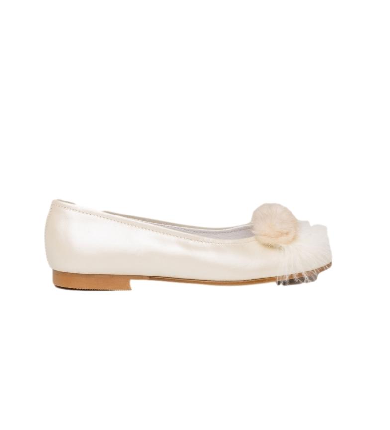 Comprar Angelitos Ballerina / Ballerina in pelle bianca con pompon per comunione