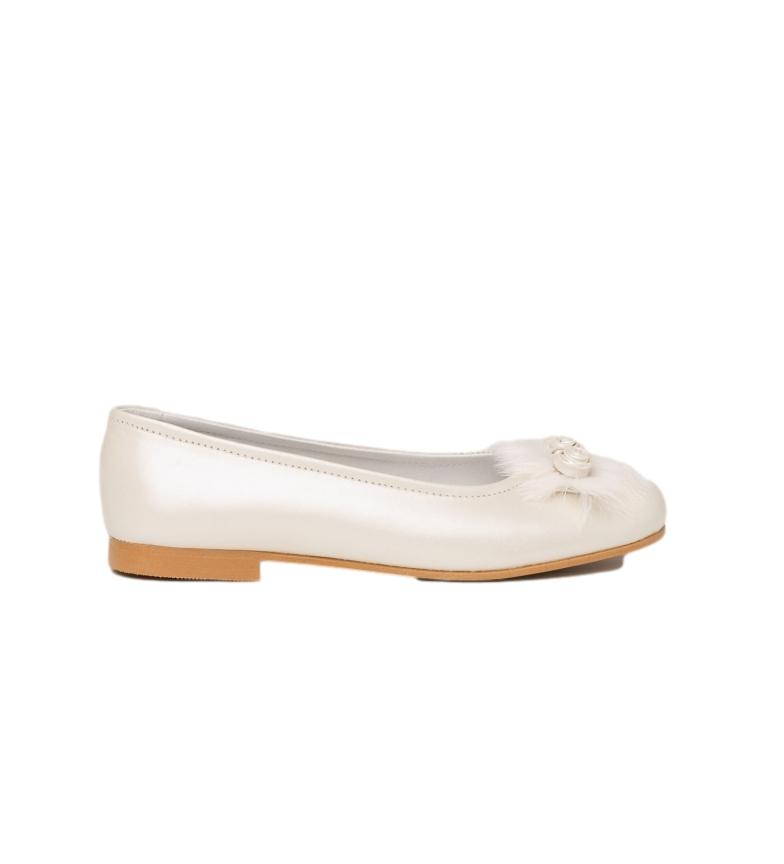 Comprar Angelitos Ballerine / Ballerine in pelle con pompon e fiori bianchi