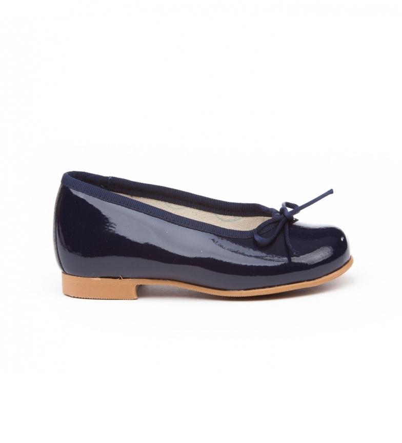 Angelitos Manoletinas/Ballerinas navy patent leather