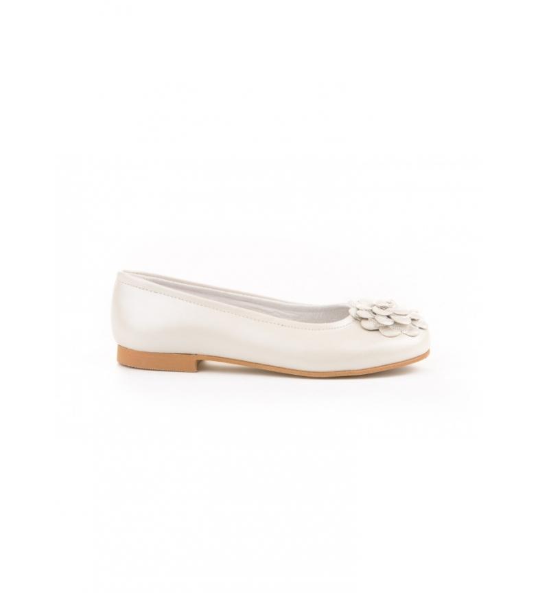 Comprar Angelitos Scarpa da ballerina in pelle con pizzo floreale e tulle beige