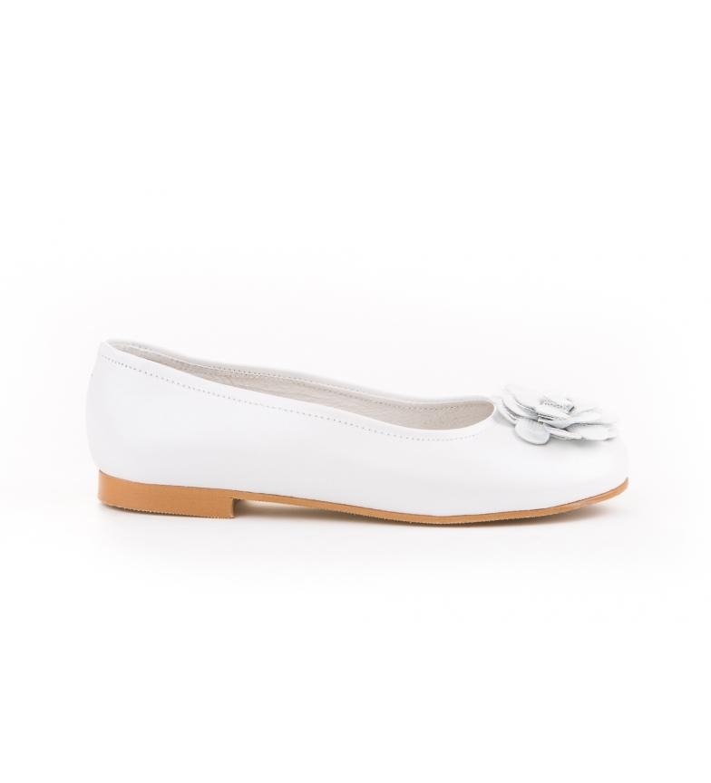 Comprar Angelitos Ballerine Ballerina Chaussure en cuir fleuri Dentelle et Tulle blanc