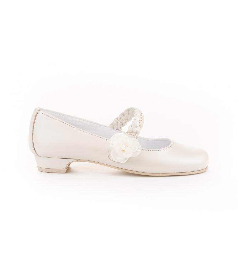 Comprar Angelitos Zapato Bailarina  de piel Trenzada Comunión beige