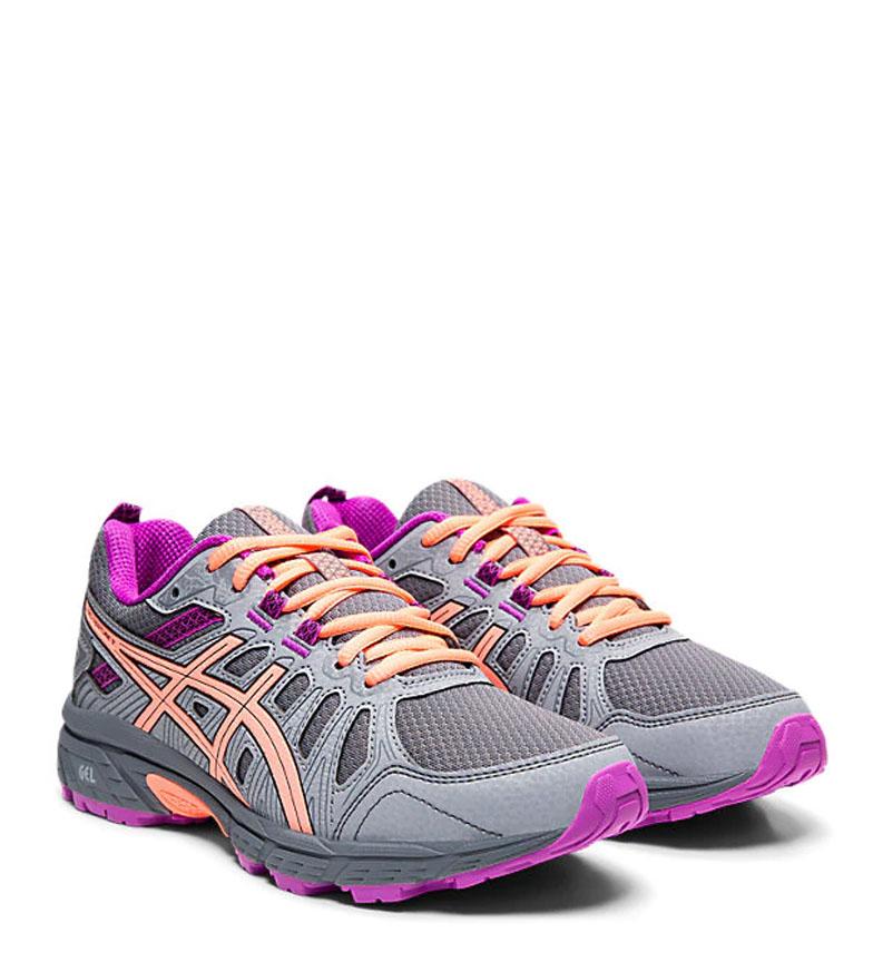 Asics-Zapatillas-de-trail-running-Gel-Venture-7-GS-gris-coral-Mujer-chica miniatura 12