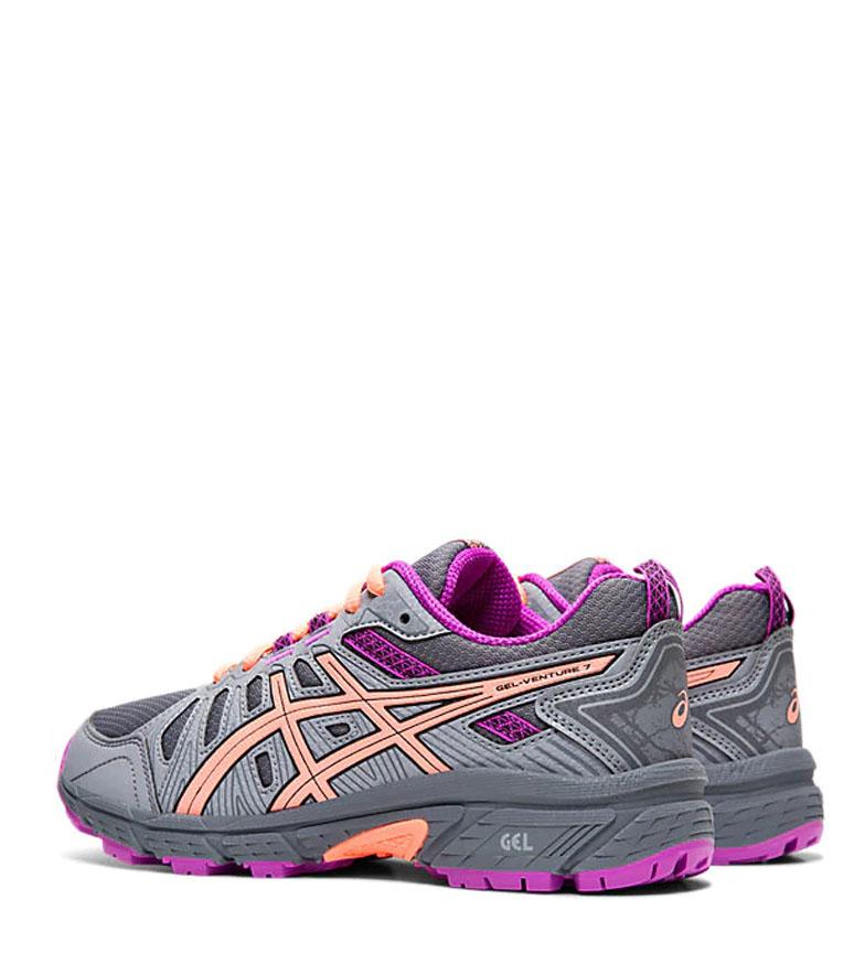 Asics-Zapatillas-de-trail-running-Gel-Venture-7-GS-gris-coral-Mujer-chica miniatura 13