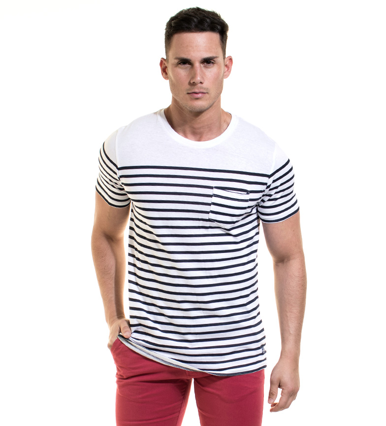 Backlight Camiseta Wayne Pocket blanco, marino