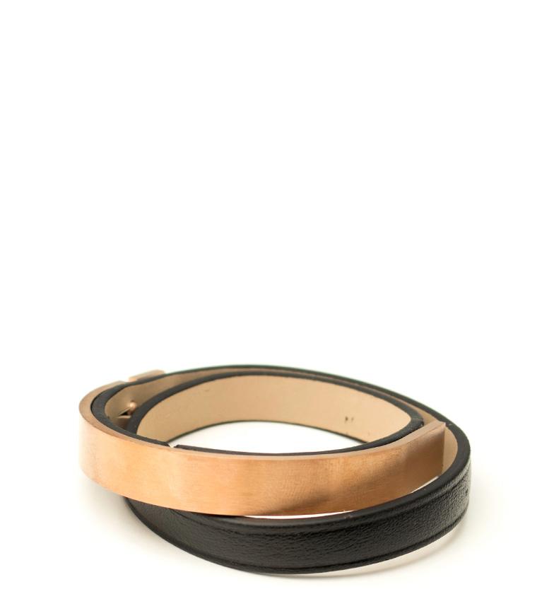 Comprar Bilyfer Pulsera de piel doble vuelta CHA1678 negro -34cm-