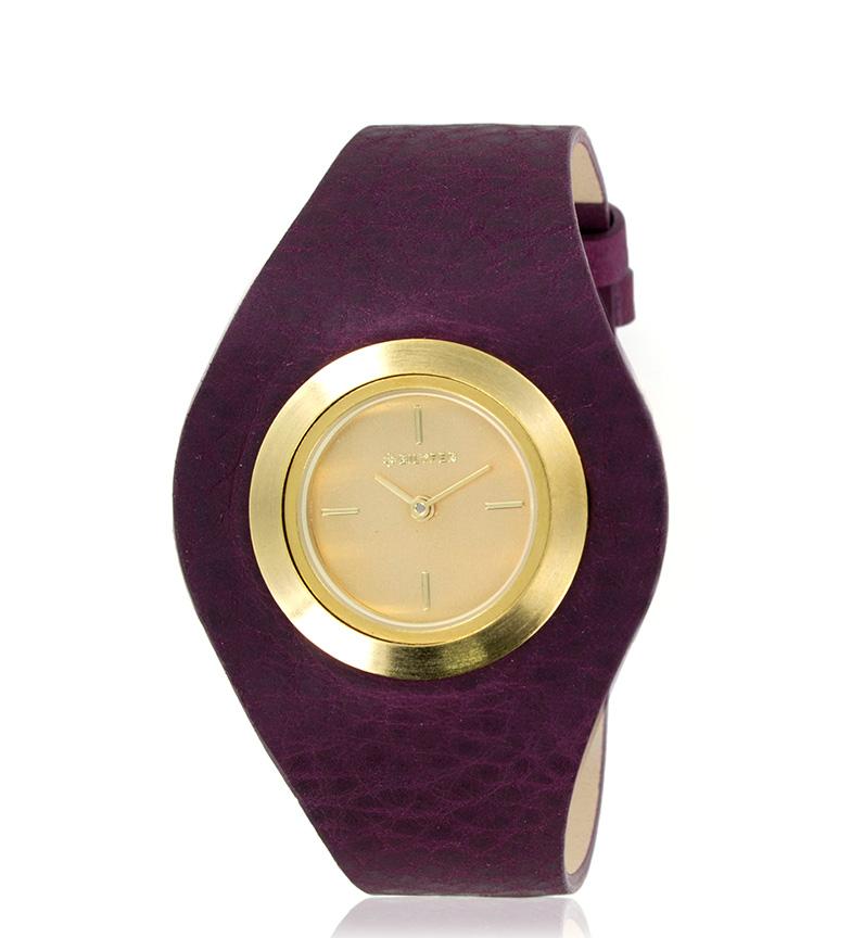 Comprar Bilyfer Reloj analógico 1F606 piel berenjena, dorado