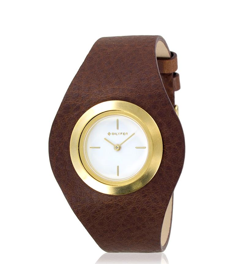 Comprar Bilyfer 1F606 orologio analogico in pelle marrone, oro