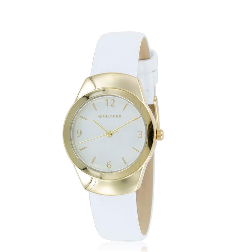 Comprar Bilyfer Reloj analógico 1F614 piel blanco, dorado