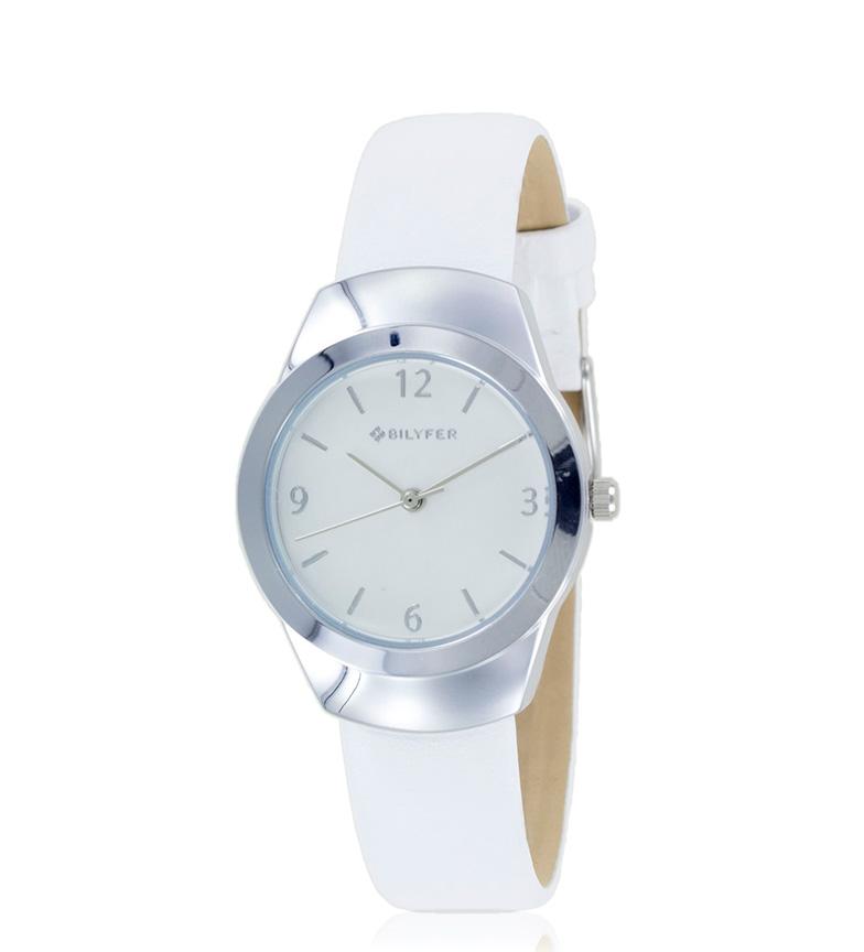 Comprar Bilyfer 1F614 pelle bianca orologio analogico, argento