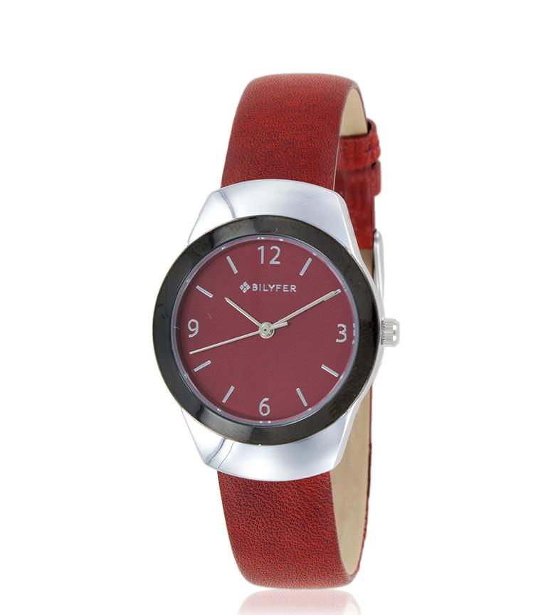 Comprar Bilyfer Reloj analógico 1F614 piel granate, plateado
