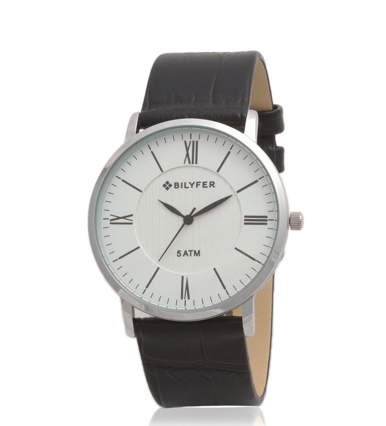 Comprar Bilyfer 2W434 analógico relógio de couro preto, prata