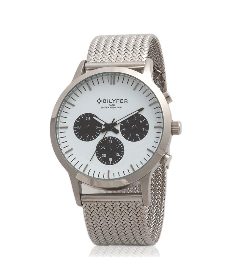 Comprar Bilyfer 4H293 orologio analogico bianco con argento cronografo, nero