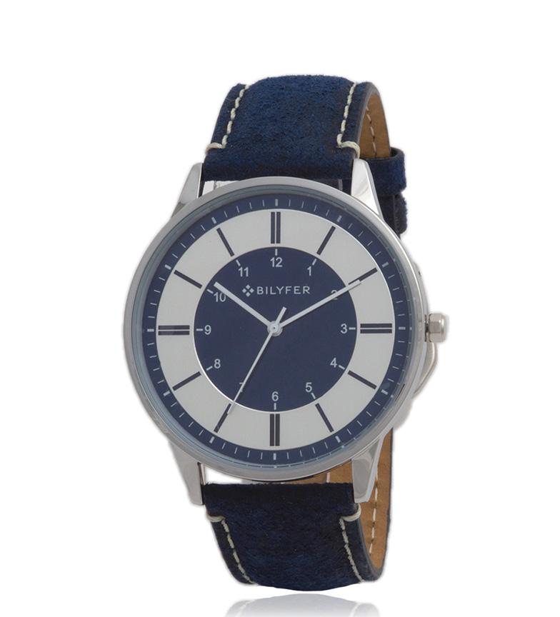 Comprar Bilyfer 2W436 pelle orologio analogico blu, argento