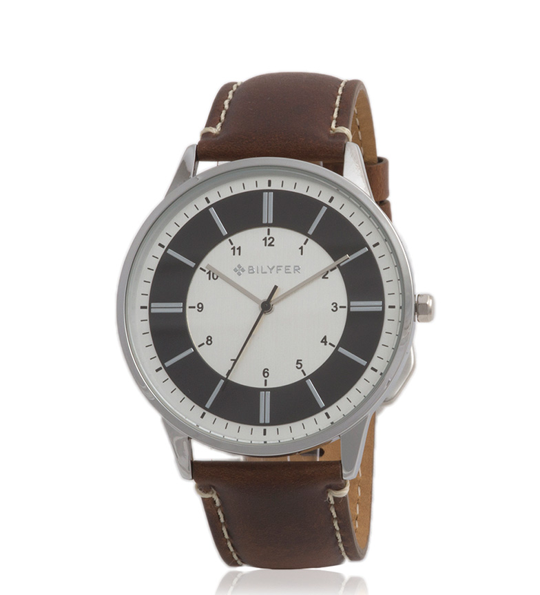 Comprar Bilyfer 2W436 relógio analógico pele cinzenta macio, castanho