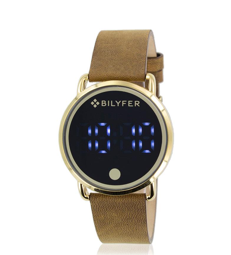 371526db4b03 Bilyfer - Reloj digital 1F621 piel dorado Mujer chica