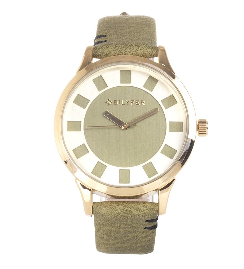 Comprar Bilyfer Reloj analógico de piel 1F631 verde