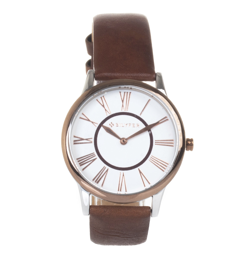 Comprar Bilyfer Reloj analógico de piel 1F623  marrón