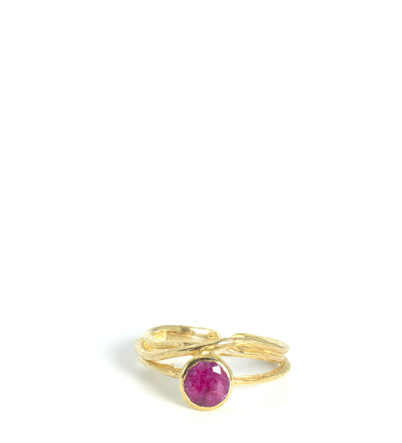Comprar Bilyfer Ring CHA1937 gold, natural stone ruby -1,8cm-