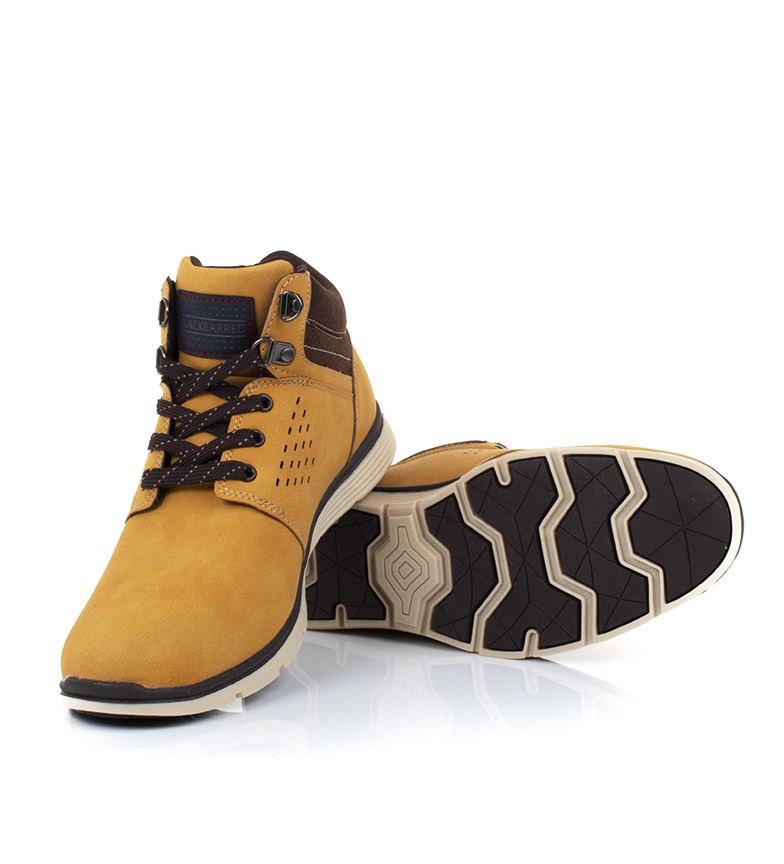 Black-Barred-Botas-Axel-II-camel-Hombre-chico-Marron-Amarillo-Negro-Plano miniatura 5