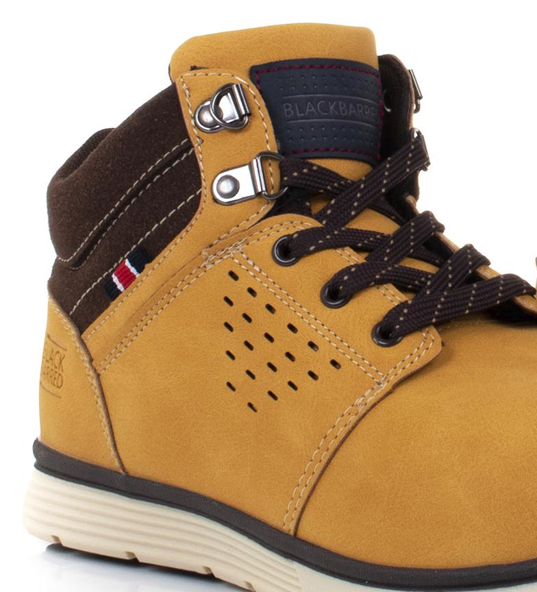 Black-Barred-Botas-Axel-II-camel-Hombre-chico-Marron-Amarillo-Negro-Plano miniatura 8