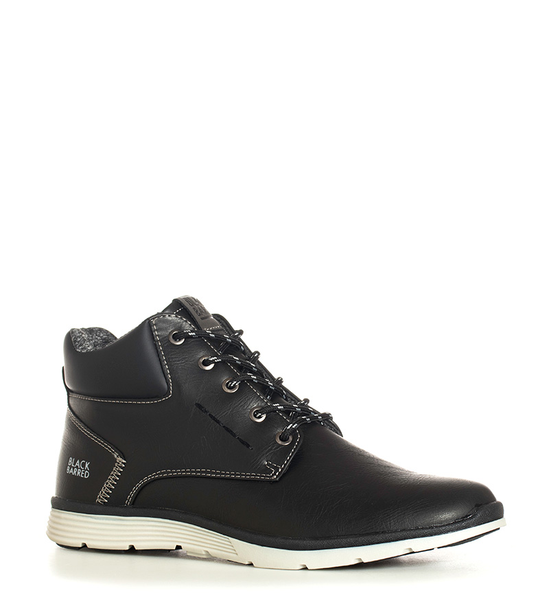 Black-Barred-Botines-Axel-Hombre-chico-Negro-Marron-Plano-Cordones-Casual