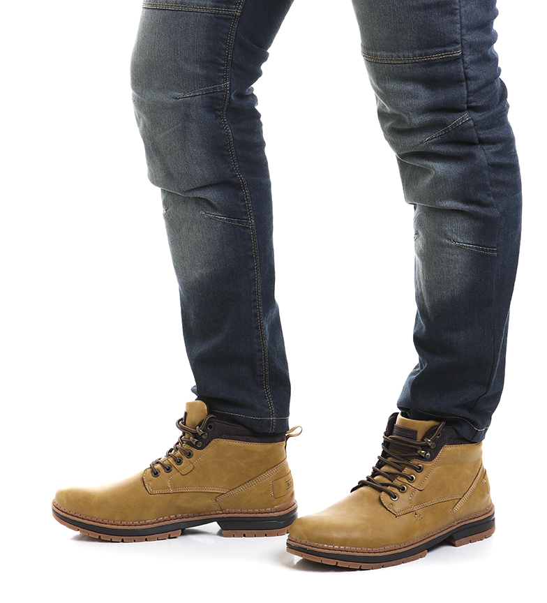 Black-Barred-Botas-Forest-camel-Hombre-chico-Marron-Amarillo-Negro-Tela miniatura 4