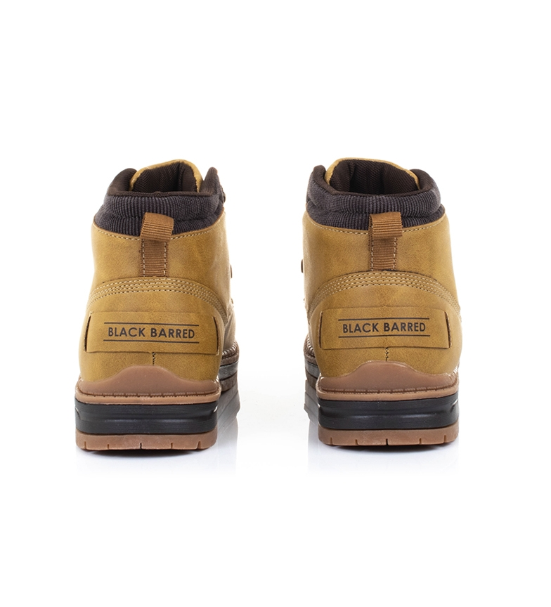 Black-Barred-Botas-Forest-camel-Hombre-chico-Marron-Amarillo-Negro-Tela miniatura 7