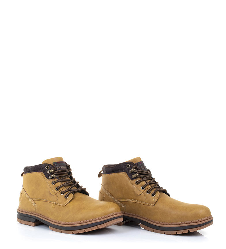 Black-Barred-Botas-Forest-camel-Hombre-chico-Marron-Amarillo-Negro-Tela miniatura 8