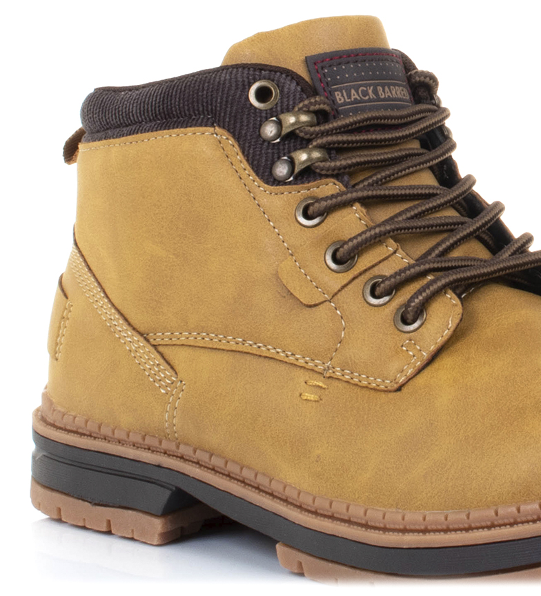 Black-Barred-Botas-Forest-camel-Hombre-chico-Marron-Amarillo-Negro-Tela miniatura 9