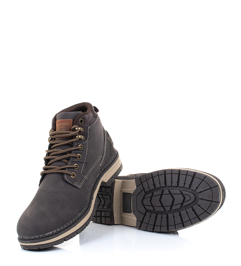 Black-Barred-Botas-Forest-camel-Hombre-chico-Marron-Amarillo-Negro-Tela miniatura 13