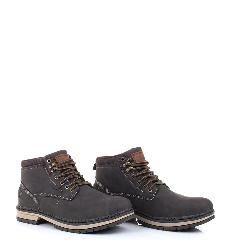 Black-Barred-Botas-Forest-camel-Hombre-chico-Marron-Amarillo-Negro-Tela miniatura 16