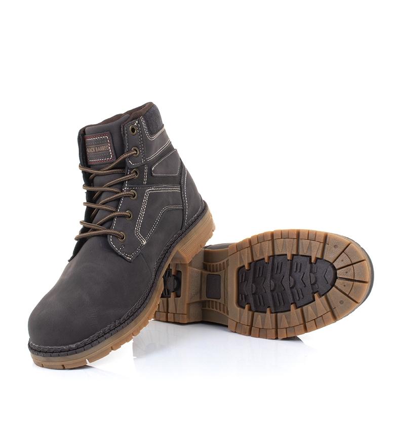 Black-Barred-Bottes-Panama-Jaune-Homme-Marron-Noir-Tissu-Synthetique-Plat miniature 10