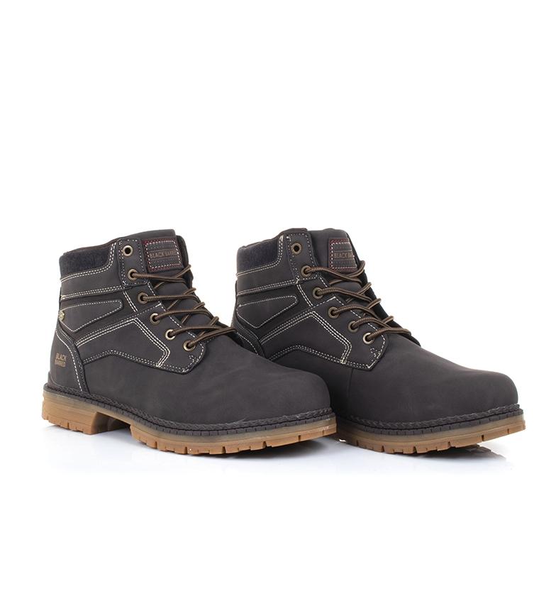 Black-Barred-Bottes-Panama-Jaune-Homme-Marron-Noir-Tissu-Synthetique-Plat miniature 11