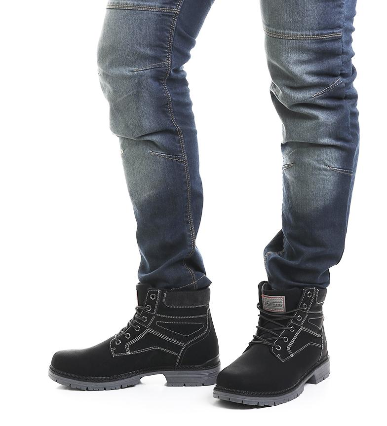 Black-Barred-Bottes-Panama-Jaune-Homme-Marron-Noir-Tissu-Synthetique-Plat miniature 15