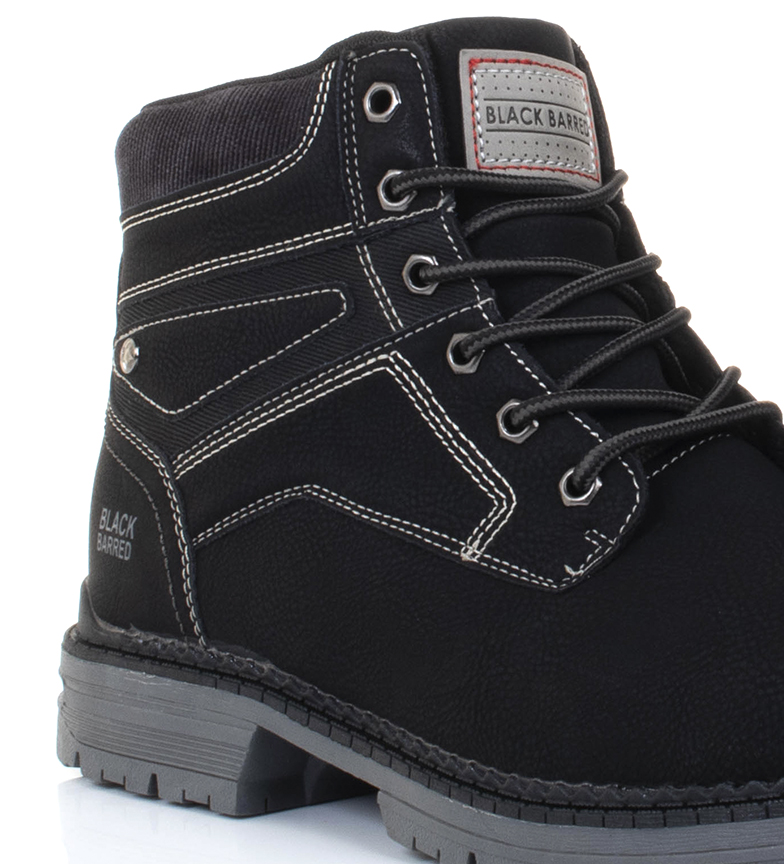 Black-Barred-Bottes-Panama-Jaune-Homme-Marron-Noir-Tissu-Synthetique-Plat miniature 19
