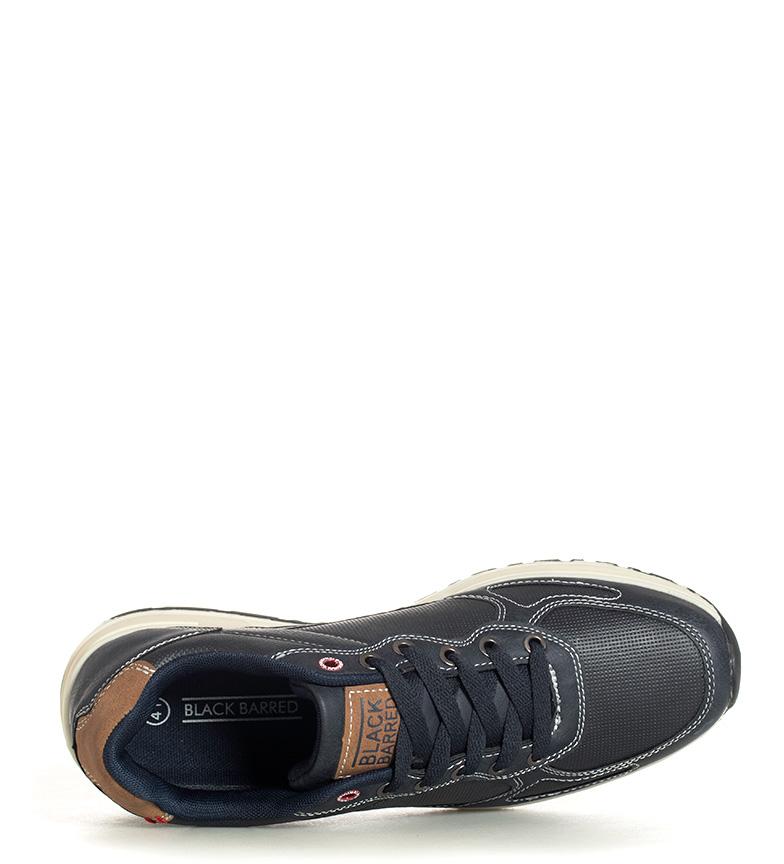 Black-Barred-Zapatillas-Eduard-Hombre-chico-Plano-Cordones-Casual-Gris-Azul