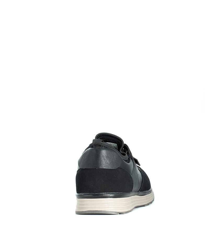 Black-Barred-Zapatillas-Matthew-Hombre-chico-Marron-Negro-Plano-Cordones