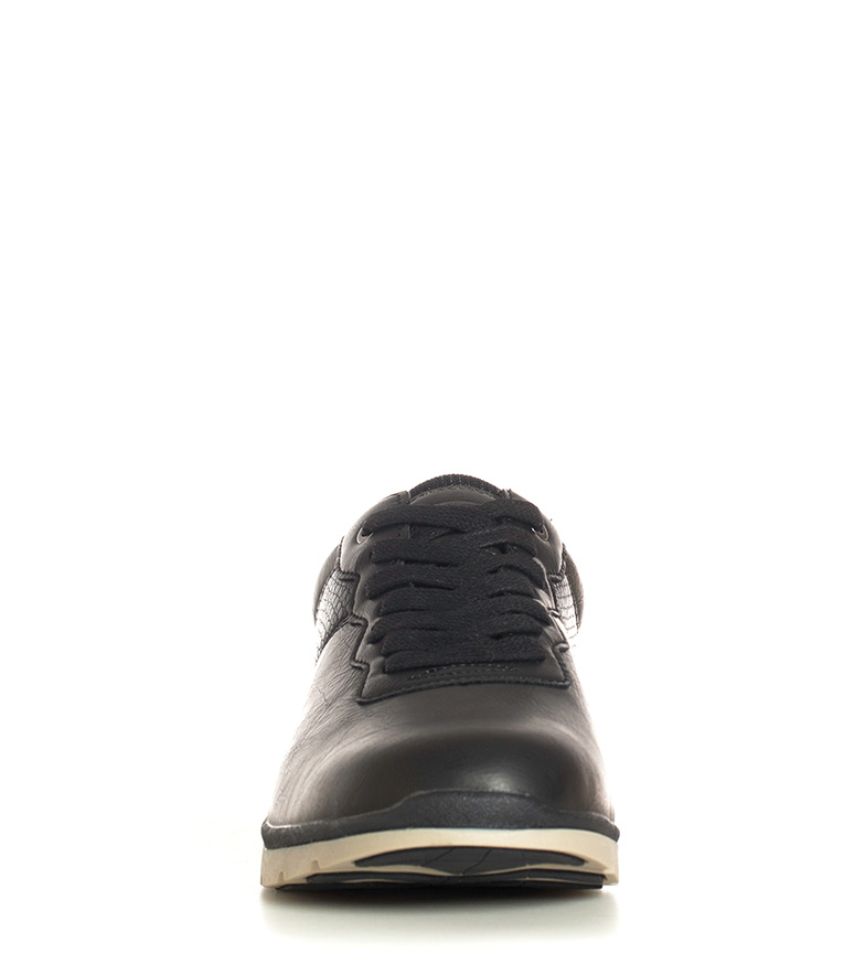 Black-Barred-Zapatillas-Roderick-Hombre-chico-Marron-Negro-Plano-Cordones