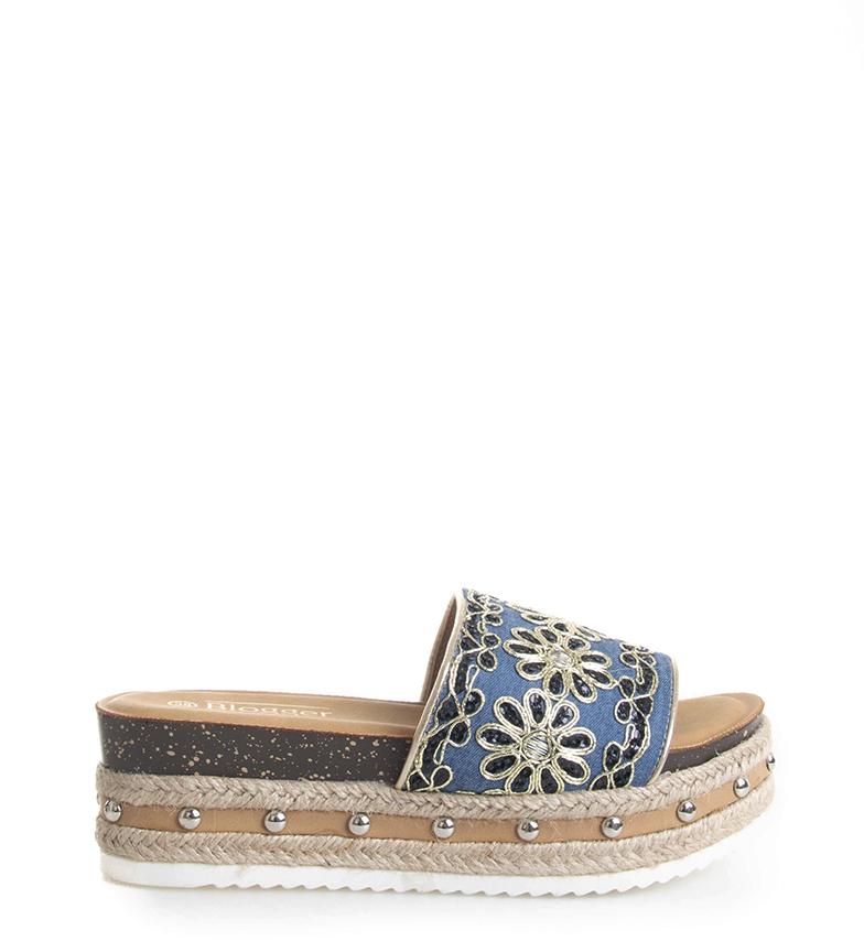 Comprar Blogger Sandalias Flor azul -Altura plataforma: 5,5cm-