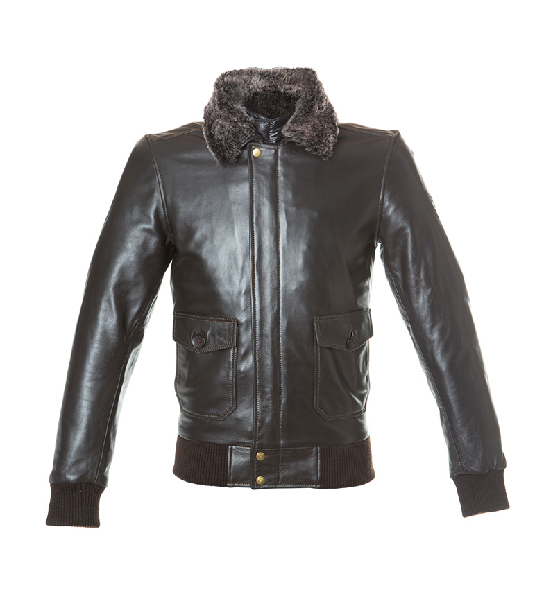 Comprar By City Veste en cuir Aviator marron