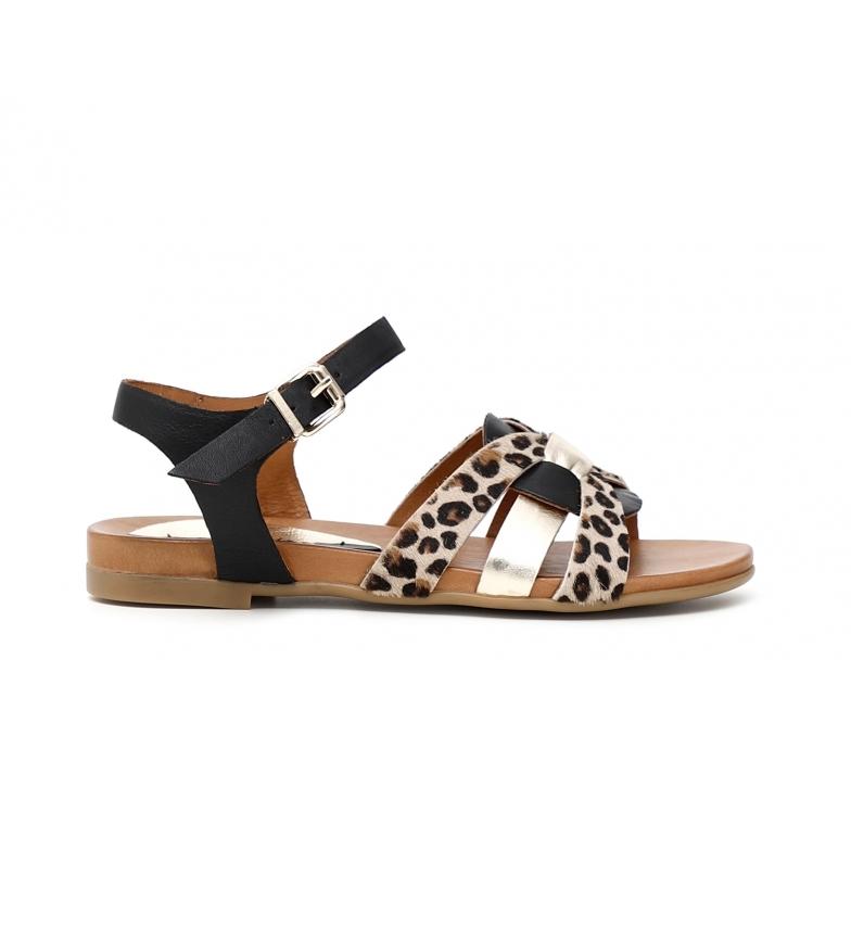 Comprar CAFÉ NOIR Low Leather Flip Flop Sandals with black Maxi Strass