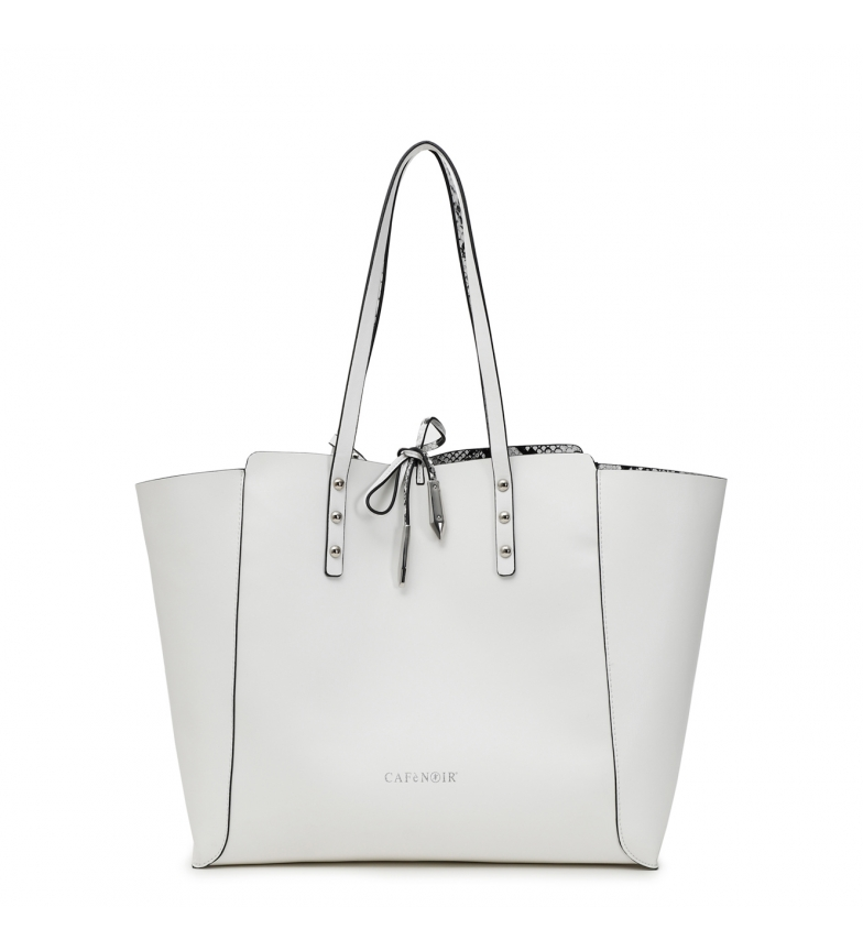 CAFÉ NOIR Reversible Shopping Bag white -30x50x14cm