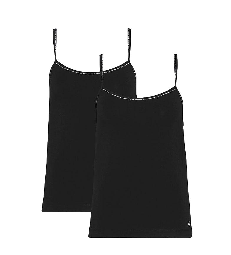 Comprar Calvin Klein T-shirt pigiama di lino nera in confezione da 2