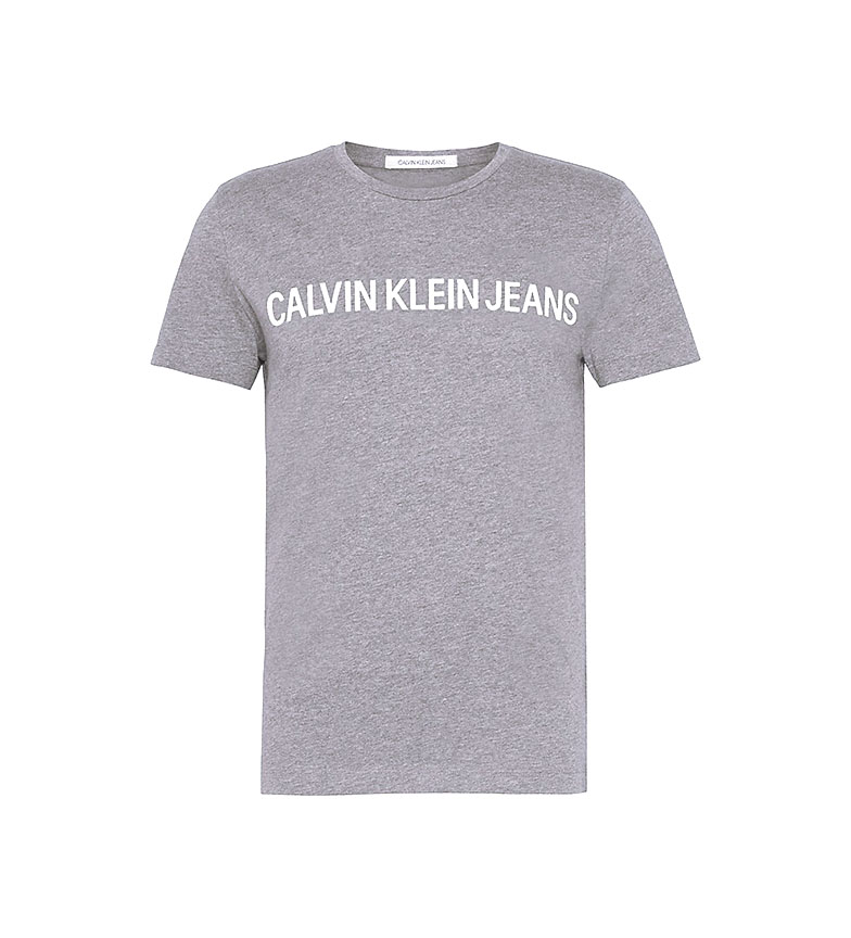 Comprar Calvin Klein Core Institucional Logotipo Slim Camiseta Slim cinza