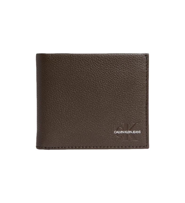 Calvin Klein Portefeuille en cuir noir -9x10,5x2cm