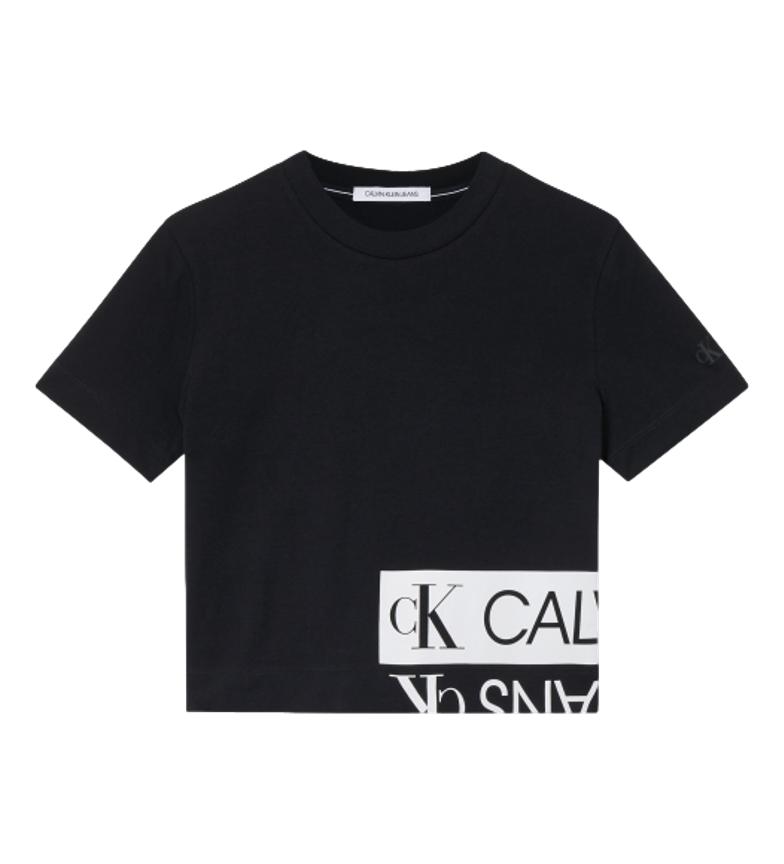 Comprar Calvin Klein T-shirt squadrata con logo specchiato nera