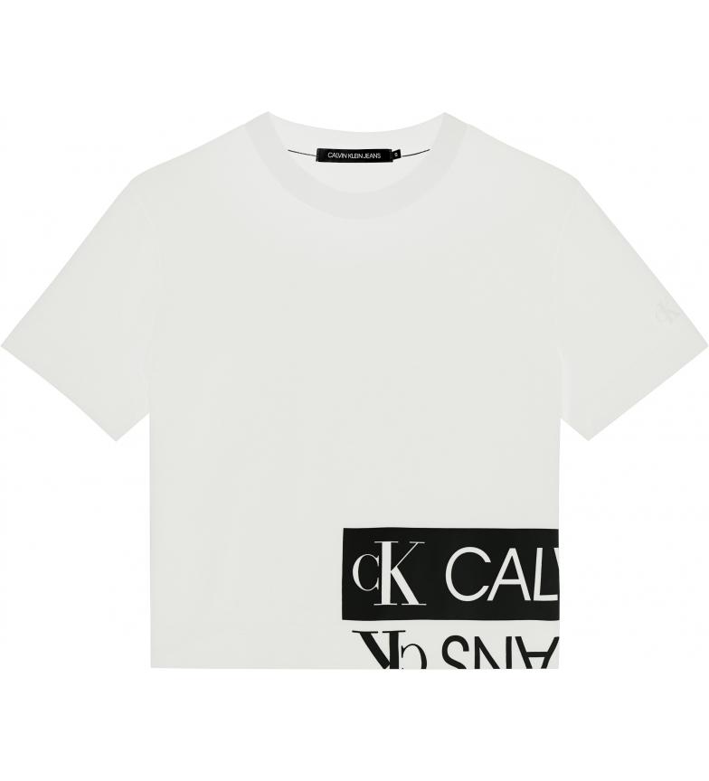 Comprar Calvin Klein T-shirt squadrata con logo specchiato bianca