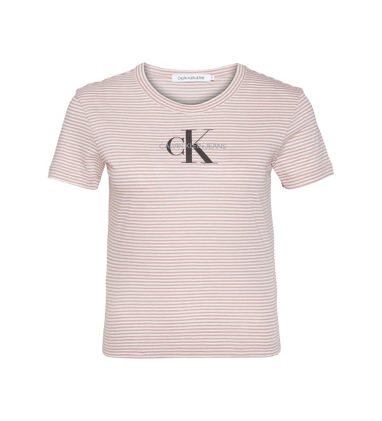 Comprar Calvin Klein T-shirt a righe monogramma bianca, rosa